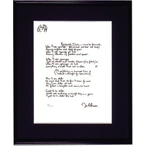 ジョンの直筆作詞原稿を精巧に再現した限定版アート・リトグラフ額「ボロウド・タイム」|thebeatles