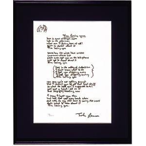 ジョンの直筆作詞原稿を精巧に再現した限定版アート・リトグラフ額「アイム・ルージング・ユー」|thebeatles