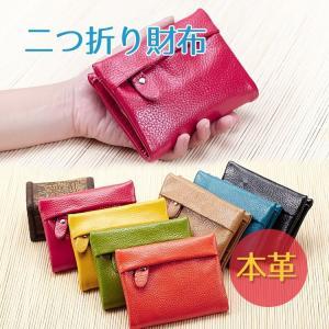 財布 二つ折り レディース 本革財布 カードケース 軽量 財布 革 かわいい 2つ折り財布 コンパクト 写真入れ ファスナーポケット|thebest