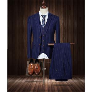 ビジネススーツ メンズ スリーピース スーツセット ベスト付き スリム ストライプ 冠婚葬祭 フォー...