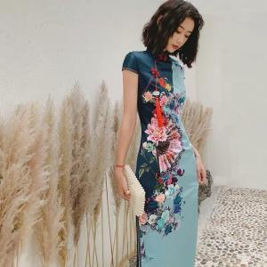 チャイナドレス 半袖 花柄 コスチューム ハロウィン M〜XXXL 大きサイズ  ワンピースドレス ...