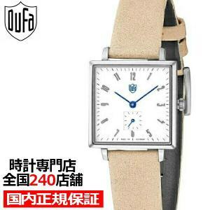 ドゥッファ グロピウス スクエア DF-7025-01 レディース 腕時計 クオーツ 革ベルト ホワイト スモールセコンド theclockhouse-y