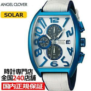 エンジェルクローバー ダブル プレイ ソーラー DPS38BNV-WH メンズ 腕時計 革ベルト ホワイト クロノグラフ トノー|theclockhouse-y