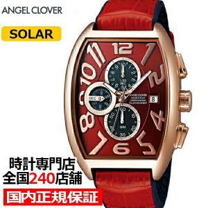 エンジェルクローバー ダブル プレイ ソーラー DPS38PRE-RE メンズ 腕時計 革ベルト レッド クロノグラフ トノー|theclockhouse-y