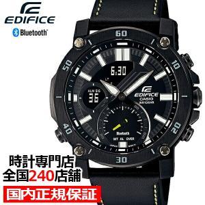 カシオ エディフィス スマートフォンリンク ECB-20YCL-1AJF メンズ 腕時計 電池式 Bluetooth 革バンド ブラック|theclockhouse-y