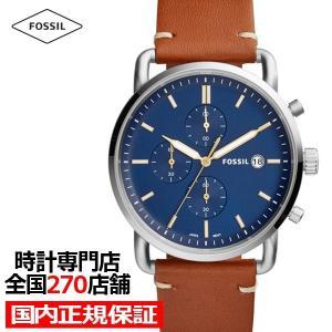 フォッシル コミューター FS5401 メンズ 腕時計 クオーツ レザー ブルー クロノグラフ 値下げ|theclockhouse-y