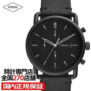 フォッシル ザ・コミューター FS5504 メンズ 腕時計 クオーツ 黒レザー ブラック クロノグラフ カレンダー 値下げ|theclockhouse-y