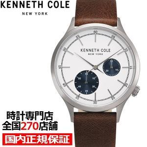 ケネスコール アーバンスタイル マルチファンクション KC51151001 メンズ 腕時計 クオーツ 革ベルト ホワイト スモールセコンド theclockhouse-y
