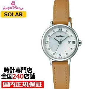 エンジェルハート リュクス LU26S-BW レディース 腕時計 ソーラー 革ベルト ホワイト スワロフスキー ブラウン|theclockhouse-y