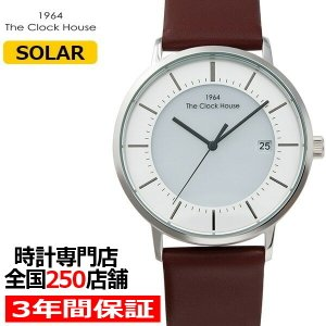 ザ・クロックハウス MCA1003-WH1B メンズカジュアル メンズ 腕時計 ソーラー 茶革ベルト ホワイト カレンダー THE CLOCK HOUSE ペア theclockhouse-y