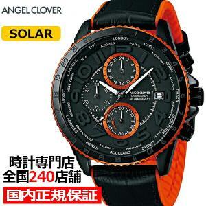エンジェルクローバー モンド MOS44BK-BK メンズ 腕時計 ソーラー 革ベルト クロノグラフ ブラック|theclockhouse-y