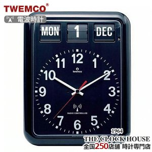 TWEMCO トゥエンコ 電波 掛時計 パタパタ時計 フリップクロック パーペチュアルカレンダー ブラック RC-12A|theclockhouse-y