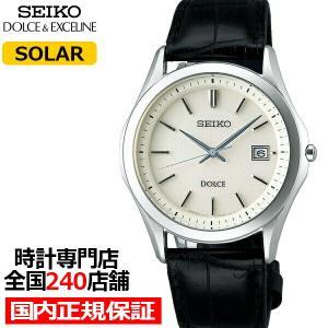 セイコー ドルチェ&エクセリーヌ ペアウォッチ メンズ 腕時計 ソーラー 革ベルト チタン ホワイト SADM009|theclockhouse-y