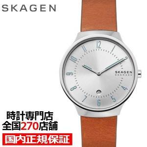 スカーゲン グレーネンスリム SKW6522 メンズ 腕時計 クオーツ レザー シルバー カレンダー ブラウン 値下げ|theclockhouse-y