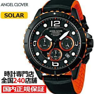 エンジェルクローバー タイムクラフトダイバー TCD45BK-BK メンズ 腕時計 ソーラー 革ベルト クロノグラフ ブラック|theclockhouse-y