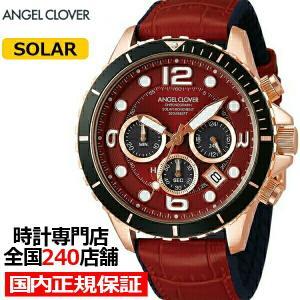 エンジェルクローバー タイムクラフトダイバー TCD45PRE-RE メンズ 腕時計 ソーラー 革ベルト レッド クロノグラフ|theclockhouse-y