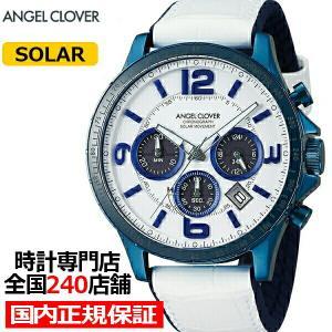 エンジェルクローバー タイムクラフト TCS44BNV-WH メンズ 腕時計 ソーラー 革ベルト ホワイト クロノグラフ|theclockhouse-y