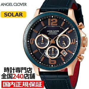 エンジェルクローバー タイムクラフト TCS44PG-NV メンズ 腕時計 ソーラー 革ベルト ネイビー クロノグラフ|theclockhouse-y
