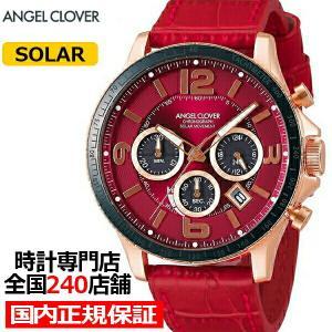 エンジェルクローバー タイムクラフト TCS44PG-RE メンズ 腕時計 ソーラー 革ベルト レッド クロノグラフ|theclockhouse-y