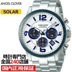 エンジェルクローバー タイムクラフトソーラー TCS44SWH メンズ 腕時計 ソーラー メタルベルト クロノグラフ ホワイト|theclockhouse-y