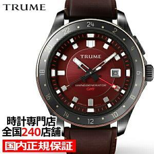TRUME トゥルーム Lコレクション ブレークライン 販売店限定モデル TR-ME2006 メンズ 腕時計 自動巻発電 GMT セラミック レザー レッド|theclockhouse-y