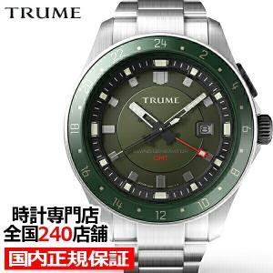 TRUME トゥルーム Lコレクション ブレークライン TR-ME2007 メンズ 腕時計 自動巻発電 GMT セラミックベゼル メタルバンド グリーン エプソン|theclockhouse-y