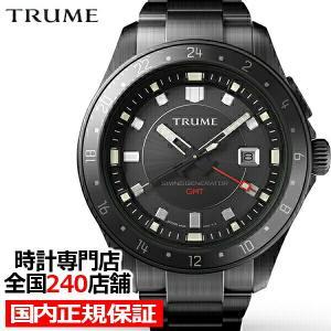 TRUME トゥルーム Lコレクション ブレークライン TR-ME2008 メンズ 腕時計 自動巻発電 GMT セラミックベゼル メタルバンド ブラック エプソン|theclockhouse-y