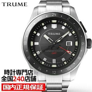 TRUME トゥルーム Lコレクション ブレークライン TR-ME2009 メンズ 腕時計 自動巻発電 GMT セラミックベゼル メタルバンド ブラック エプソン|theclockhouse-y