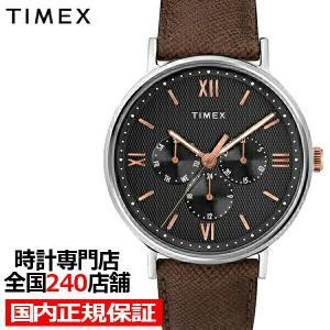 タイメックス スタイル サウスビュー マルチ ブラック×ブラウン メンズ 腕時計 クオーツ 革ベルト TW2T35000 値下げ|theclockhouse-y