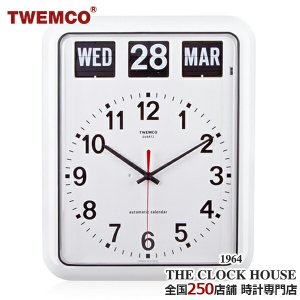 TWEMCO トゥエンコ 掛け時計 パタパタ時計 フリップクロック パーペチュアルカレンダー ホワイト BQ-12A ザ・クロックハウスPayPayモール店