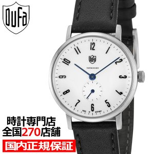 ドゥッファ グロピウス DF7001-03 レディース 腕時計 クオーツ 黒レザー ホワイト スモールセコンド 青針|theclockhouse