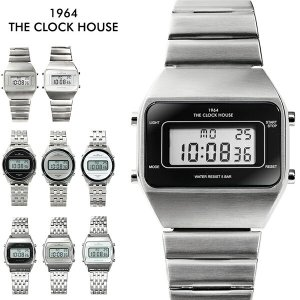 ザ・クロックハウス タウンカジュアル メタル デジタル ユニセックス 腕時計 ブラック グレー ホワ...
