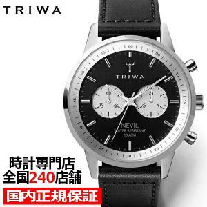 トリワ スレートネビル NEST118 メンズ 腕時計 クオーツ 黒レザー ブラック クロノグラフ ...