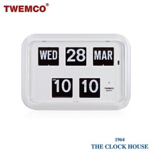 TWEMCO トゥエンコ 掛置兼用 パタパタ時計 フリップクロック パーペチュアルカレンダー QD-35 WHITE ザ・クロックハウスPayPayモール店