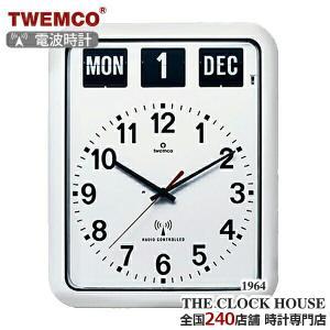 TWEMCO トゥエンコ 電波 掛時計 パタパタ時計 フリップクロック パーペチュアルカレンダー 電波時計 RC-12A WHITE ザ・クロックハウスPayPayモール店