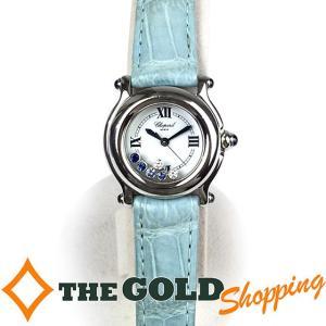 ショパール / Chopard : ハッピースポーツ ダイヤ& サファイア 6P 27/8245/23F 27/8245-23F 時計 腕時計 レディース[女性用] 中古 【中古】|thegoldshopping