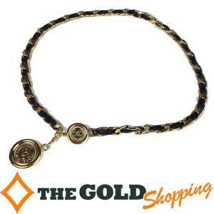 シャネル / CHANEL : ココマーク メダル チェーンベルト ブラック×ゴールド 小物 ベルト 中古|thegoldshopping