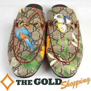 グッチ / GUCCI : GG スプリーム ティアン スリッパ (フラットシューズ) #36(23cm) 427363 小物 靴 中古|thegoldshopping