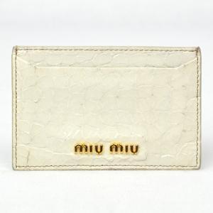ミュウミュウ / miumiu: クロコ調 カードケース ホワイト   小物 名刺入れ(カードケース)(中古) thegoldshopping
