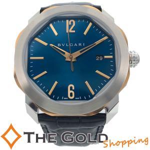 ブルガリ オクト ローマ 2020年5月 国内 青文字盤 自動巻き SS YG コンビ 革ベルト OCP41SG BVLGARI 腕時計 [メンズ 男性用]【中古】 thegoldshopping
