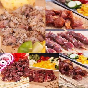 (送料無料)竹串付き味付け生肉キューブ6種 お得セット  肉串 串焼き ケバブ/バーベキューセット バーベキュー BBQ キャンプ  BBQセット|themeatguy