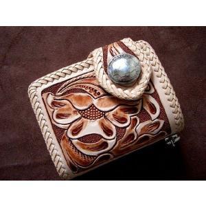 バイカーズウォレット本革 短財布 レザーショートウォレット カービング2つ折りウォレット ナチュラルペイント