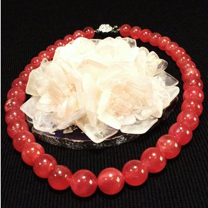 インカの赤いバラ!深紅の宝石天然の赤色!  天然ロードクロサイト菱マンガン鉱インカローズネックレス、...