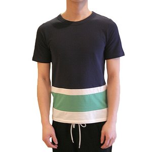 【正規販売】BAND OF OUTSIDERS(バンドオブアウトサイダーズ) 14S/S PANEL STRIPE TEE NAVY|thepark