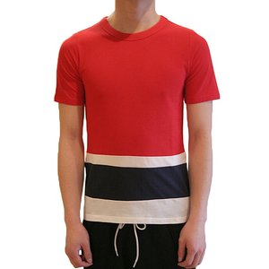 【正規販売】BAND OF OUTSIDERS(バンドオブアウトサイダーズ) 14S/S PANEL STRIPE TEE RED|thepark
