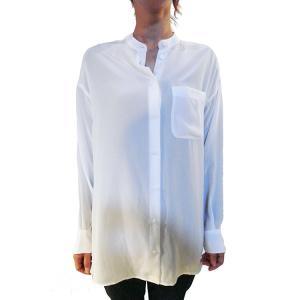 【正規販売】EQUIPMENT(エキップモン) 16S/S MELODIE バンドカラーシャツ WHITE|thepark