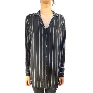 【正規販売】EQUIPMENT(エキップモン) 16S/S MAY ストライプシャツ TRUE BLACK/MARSHMALLOW|thepark