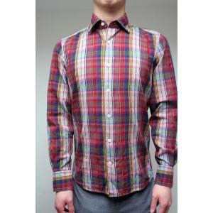 【正規販売】Glanshirt(グランシャツ) マドラスチェックシャツ RED|thepark