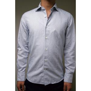 【正規販売】Glanshirt(グランシャツ) デザインストライプシャツ ブルー|thepark