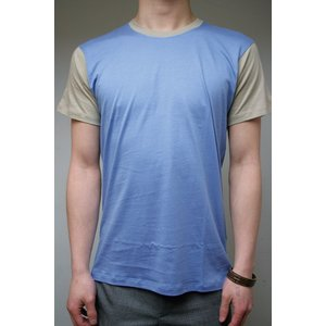【正規販売】KRIS VAN ASSCHE(クリスヴァンアッシュ) BICOLOUR RAUND NECK TSHIRT LIGHT BLUE/BEIGE|thepark